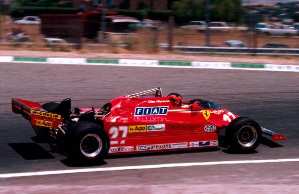 1981 Spanish Grand Prix.Jarama, Madrid, Spain.28-31 May 1981.Gilles Villeneuve (Ferrari 126CK) 1st position. Ref-81 ESP 14.World Copyright - LAT Photographic
