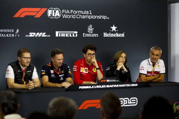 Andreas Seidl, Team Principal, McLaren, Christian Horner, Team Principal, Red Bull Racing, Mattia Binotto, Team Principal Ferrari, Claire Williams, Deputy Team Principal, Williams Racing, and Beat Zehnder, Team Manager, Alfa Romeo Racing, in the team principals' Press Conference