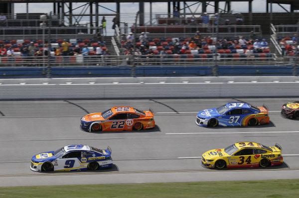 #9: Chase Elliott, Hendrick Motorsports, Chevrolet Camaro NAPA Auto Parts, #2: Brad Keselowski, Team Penske, Ford Mustang MoneyLion, #34: Michael McDowell, Front Row Motorsports, Ford Mustang Love's Travel Stops