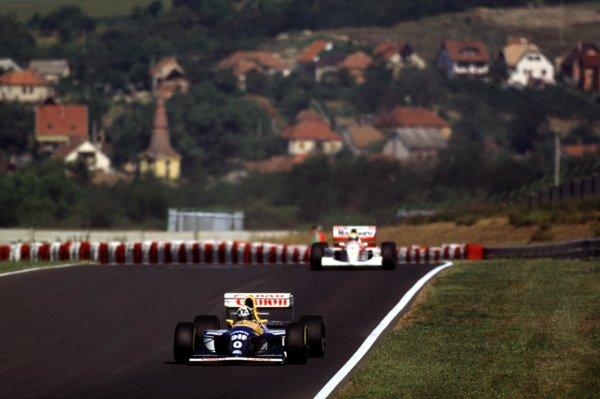1993 Hungarian Grand Prix.Hungaroring, Budapest, Hungary.13-15 August 1993.Damon Hill (Williams FW15C Renault) 1st position.World Copyright - LAT Photographic