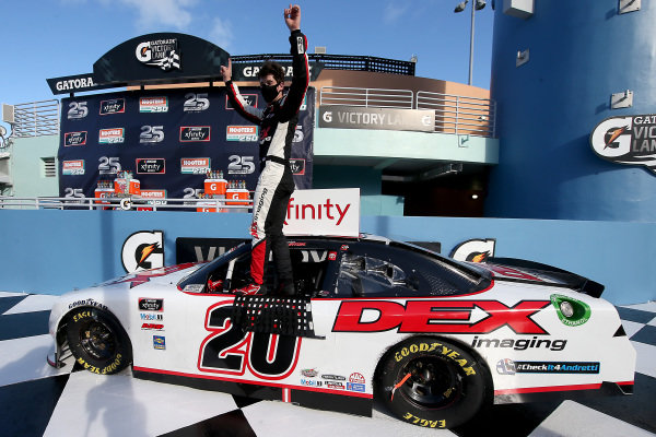 Race winner Harrison Burton, Joe Gibbs Racing Toyota DEX Imaging, Copyright: Chris Graythen/Getty Images.