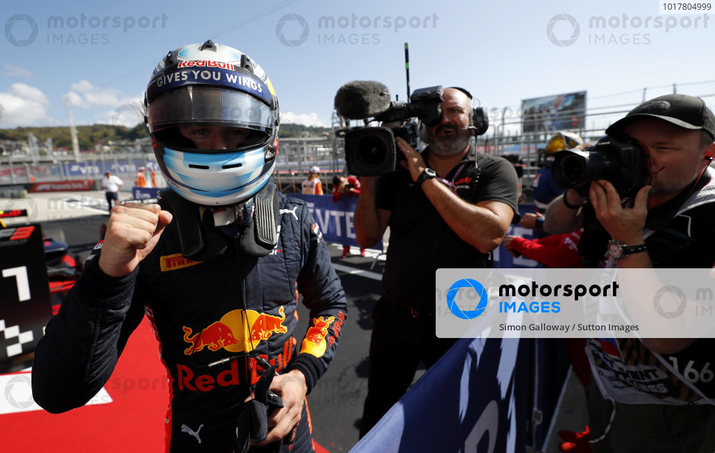 SOCHI AUTODROM, RUSSIAN FEDERATION - SEPTEMBER 29: Race winner Juri Vips (EST) Hitech Grand Prix, Red Bull Racing in Parc Ferme during the Sochi at Sochi Autodrom on September 29, 2019 in Sochi Autodrom, Russian Federation. (Photo by Simon Galloway / LAT Images / FIA F3 Championship)