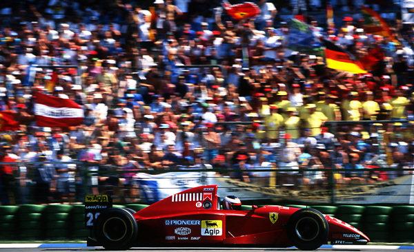Gerhard Berger (AUT) Ferrari 412T2 at Formula One World Championship, Rd9, German Grand Prix, Hockenheim, Germany, 30 July 1995.