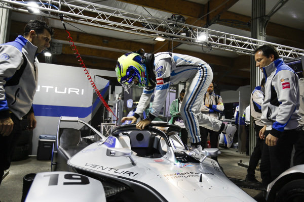 Felipe Massa (BRA), Venturi Formula E, climbs into his Venturi VFE05 in the garage