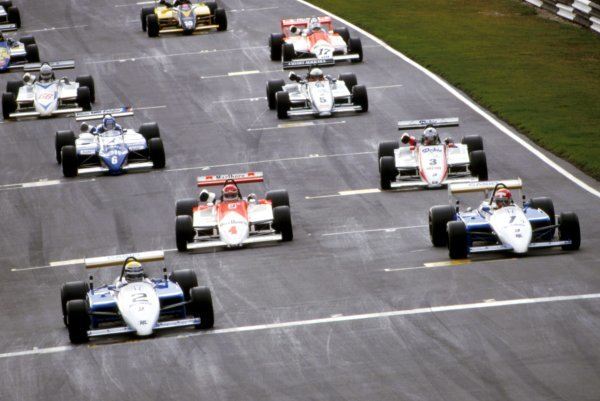Roberto Moreno (BRA), Ralt, started from pole position (left) while Mike Thackwell (NZL), Ralt, started from second on the grid (right). European Formula Two Championship, Rd11, Daily Mail Trophy Race, Brands Hatch, England, 23 September 1984.