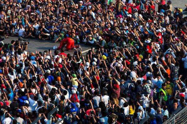 2015/2016 FIA Formula E Championship. Mexico City ePrix, Autodromo Hermanos Rodriguez, Mexico City, Mexico. Saturday 12 March 2016. Lucas Di Grassi (BRA), ABT Audi Sport FE01. Photo: Zak Mauger/LAT/Formula E ref: Digital Image _79P3935