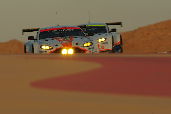 2015 FIA World Endurance Championship, Bahrain International Circuit, Bahrain. 19th - 21st November 2015. Christoffer Nygaard / Marco Sorensen / Nicki Thiim Aston Martin Racing Aston Martin Vantage V8. World Copyright: Jakob Ebrey / LAT Photographic.