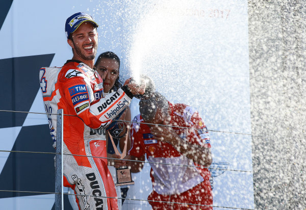 2017 MotoGP Championship - Round 12 Silverstone, Northamptonshire, UK. Sunday 27 August 2017 Podium: race winner Andrea Dovizioso, Ducati Team World Copyright: Gold and Goose / LAT Images ref: Digital Image 1063