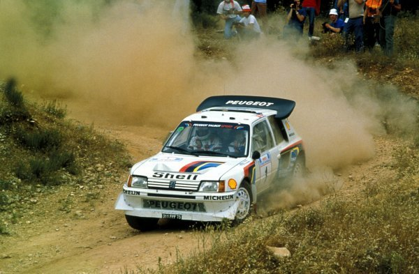 Timo Salonen (FIN) / Seppo Harjanne (FIN) Peugeot 205 T16 E2 retired with suspension problems on SS27. FIA World Rally Championship, Rd6, Acropolis Rally, Athens, Greece, 2-4 June 1986.