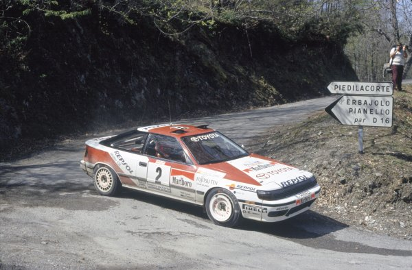 1991 World Rally Championship.Tour de Corse, Corsica, France. 28 April-1 May 1991.Carlos Sainz/Luis Moya (Toyota Celica GT4), 1st position.World Copyright: LAT PhotographicRef: 35mm transparency 91RALLY05