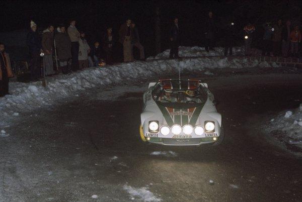 1976 World Rally Championship.Monte Carlo Rally, Monaco. 17-24 January 1976.Sandro Munari/Silvio Maiga (Lancia Stratos), 1st position.World Copyright: LAT PhotographicRef: 35mm transparency 76RALLY01