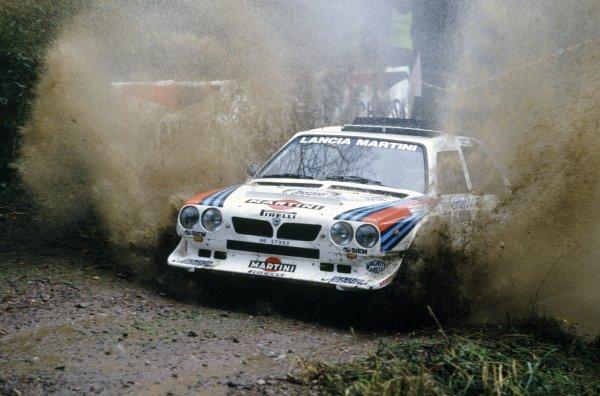 1985 World Rally Championship.Lombard RAC Rally, Great Britain. 24-28 November 1985.Markku Alen/Ilkka Kivimaki (Lancia Delta S4), 2nd position.World Copyright: LAT PhotographicRef: 35mm transparency 85RALLY16