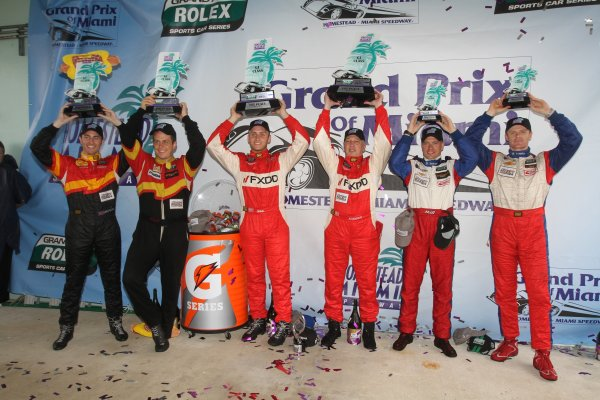 27-29 March, 2012, Homestead, Florida USA GT podium finishers, left to right, Dane Cameron, Wayne Nonnamaker, Jeff Segal, Emil Assentato, Ronnie Bremer and Robin Liddell.  (c)2012, R.D. Ethan LAT Photo USA