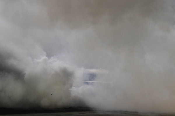 Monster Energy NASCAR Cup Series Quaker State 400 Kentucky Speedway, Sparta, KY USA Saturday 8 July 2017 Martin Truex Jr, Furniture Row Racing, Furniture Row/Denver Mattress Toyota Camry celebrates with a burnout World Copyright: Logan Whitton LAT Images