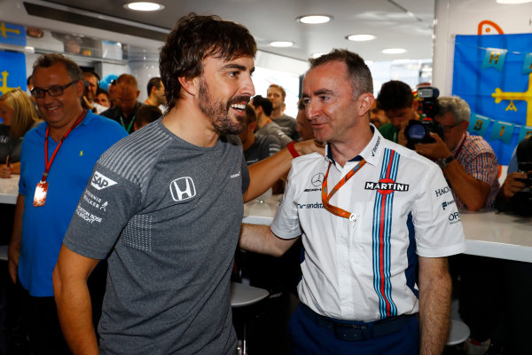 Hungaroring, Budapest, Hungary.  Saturday 29 July 2017. Fernando Alonso, McLaren, celebrates his birthday with Paddy Lowe, Chief Technical Officer, Williams Martini Racing Formula 1. World Copyright: Steven Tee/LAT Images  ref: Digital Image _R3I3654