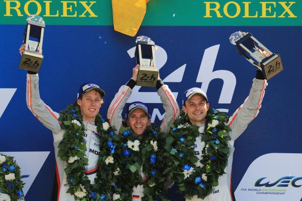 2017 Le Mans 24 Hours Circuit de la Sarthe, Le Mans, France. Sunday 18 June 2017 Podium: race winners Timo Bernhard, Earl Bamber, Brendon Hartley, Porsche Team World Copyright: Nikolaz Godet/LAT Images ref: Digital Image 24LM-re-17109