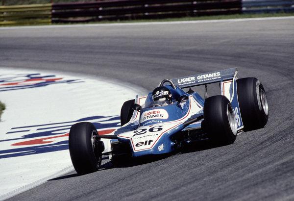 1980 Austrian Grand Prix.Osterreichring, Zeltweg, Austria.15-17 August 1980.Jacques Laffite (Ligier JS11/15 Ford) 4th position.Ref-80 AUT 24.World Copyright - LAT Photographic