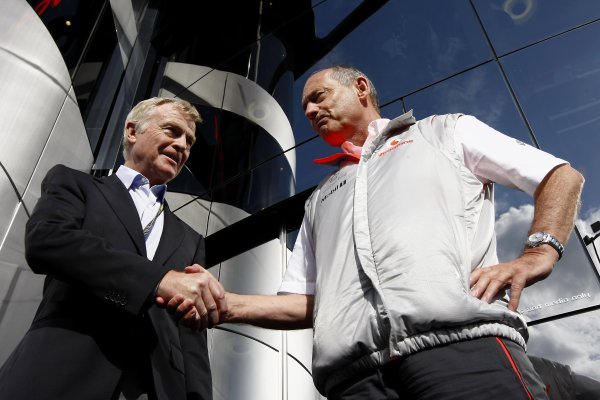 2007 Belgian Grand PrixSpa Francorchamps, Spa, Belgium.14th - 16th September 2007.Max Mosley, FIA President shakes hands with Ron Dennis, Team Principal, McLaren Mercedes on the steps of the Vodafone McLaren Brand Centre. Portrait.World Copyright: Steven Tee/LAT Photographicref: Digital Image _77A2471