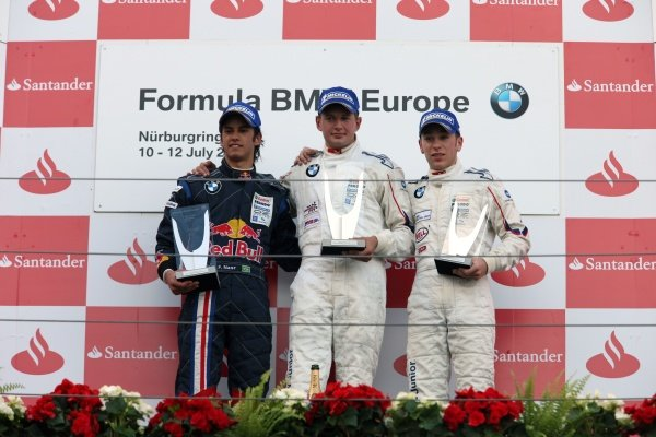(L to R): Felipe Nasr (BRA), Michael Christensen (DEN) Muecke Motorsport and the 3rd placed driver on the podium.