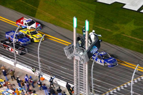 19-20 February, 2015, Daytona Beach, Florida USA Tyler Reddick drives under the checkered flag to win ?2015, Russell LaBounty LAT Photo USA