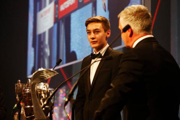 2014 Autosport Awards. Grosvenor House Hotel, Park Lane, London. Sunday 7 December 2014. George Russell wins the 2014 McLaren AUTOSPORT BRDC Award. World Copyright: Alastair Staley/LAT Photographic. ref: Digital Image _R6T9836