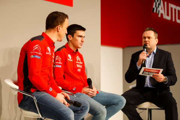 Autosport International Exhibition. National Exhibition Centre, Birmingham, UK. Friday 12th January 2018. Kris Meeke and Craig Breen of Citroen talk to Henry Hope-Frost on the Autosport Stage. World Copyright: Joe Portlock/LAT Images Ref: _U9I0346