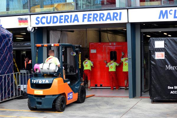 Ferrari unload freight. Formula One World Championship, Rd1, Australian Grand Prix, Preparations, Albert Park, Melbourne, Australia, Monday 11 March 2013.