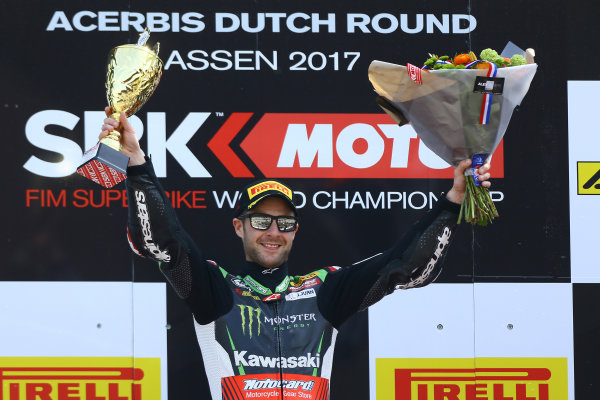 2017 Superbike World Championship - Round 4 Assen, Netherlands. Sunday 30 April 2017 Podium: race winner Jonathan Rea, Kawasaki Racing World Copyright: Gold and Goose Photography/LAT Images ref: Digital Image WSBK-1235