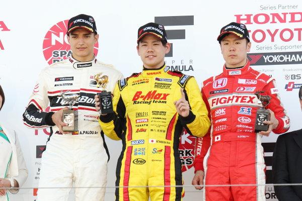 2017 Japanese Formula 3 Championship. Suzuka, Japan. 22nd - 23rd April 2017. Rd 4 & 5. Round 5 Winner Mitsunori Takaboshi ( #23 B-MAX NDDP F3 ) 2nd position Alex Palou ( #12 ThreeBond Racing with DRAGO CORSE ) 3rd position Hiroki Otsu ( #2 TODA RACING ) podium, portrait World Copyright: Yasushi Ishihara / LAT Images. Ref: 2017JF3_Rd5_004