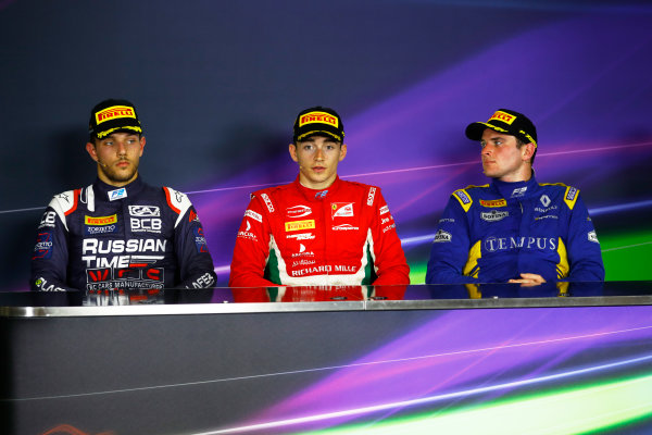 Circuit de Catalunya, Barcelona, Spain. Saturday 13 May 2017 Charles Leclerc (MCO, PREMA Racing) Luca Ghiotto (ITA, RUSSIAN TIME) and Oliver Rowland (GBR, DAMS) Photo: /FIA Formula 2 ref: Digital Image _O3I5235