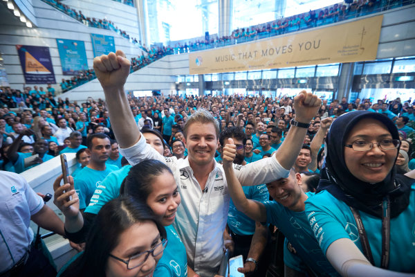 2016 Mercedes AMG F1 World Championship Celebrations. Kuala Lumpur, Malaysia Tuesday 29 November 2016. Drivers World Champion Nico Rosberg pays a visit to team sponsor Petronas in Kuala Lumpur. Photo: Steve Etherington/LAT Photographic ref: Digital Image SNE22165