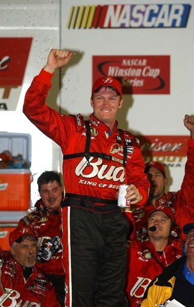 Race winner Dale Earnhardt Jr (USA) Budweiser Chevrolet celebrates his exhibition race victory on the podium. 