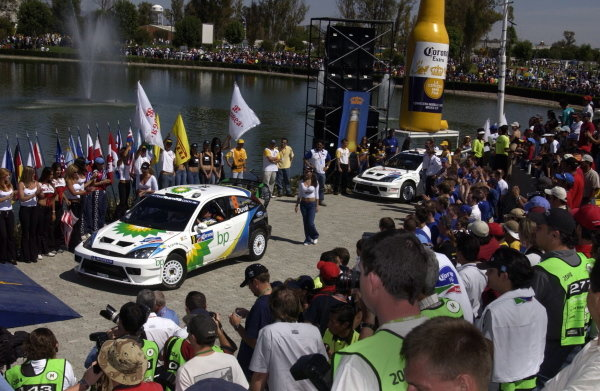 The Fords of Francois Duval (BEL) and Markko Martin (EST) make their way onto the podium.
