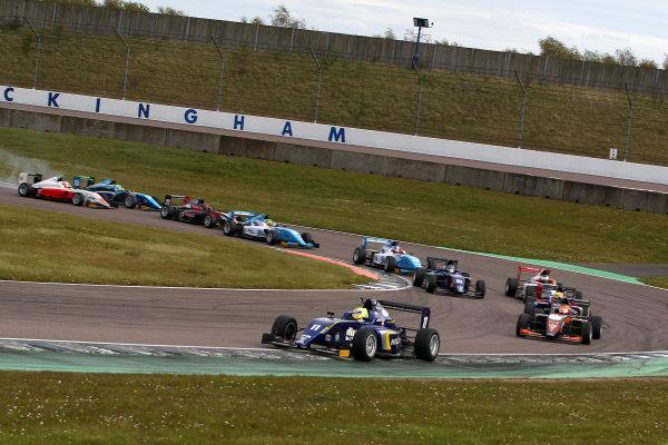 2016 BRDC British Formula 3 Championship, Rockingham, Northamptonshire.  30th April - 1st May 2016. Start of Race 3 Ricky Collard (GBR) Carlin BRDC F3 leads. World Copyright: Ebrey / LAT Photographic.