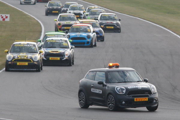 2014 Mini Challenge, Snetterton, Norfolk, England. 21-22 June 2014. The safety car leads the field World Copyright Ebrey/LAT Photographic