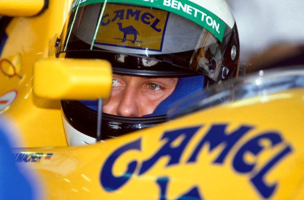 Barcelona, Spain. 27-29 September 1991.Michael Schumacher (Benetton B191-Ford), 6th position, portrait.  Ref-91 ESP 28.World Copyright - LAT Photographic