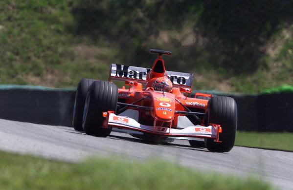 2002 Brazilian Grand Prix - PracticeInterlagos, Brazil. 29 March 2002Michael Schumacher (Ferrari 2002). World Copyright: Pic Steve Etherington/LAT PhotographicRef: xxmb Digital Image Only