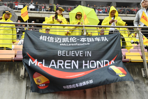 McLaren fans and banners at Formula One World Championship, Rd2, Chinese Grand Prix, Race, Shanghai, China, Sunday 9 April 2017.