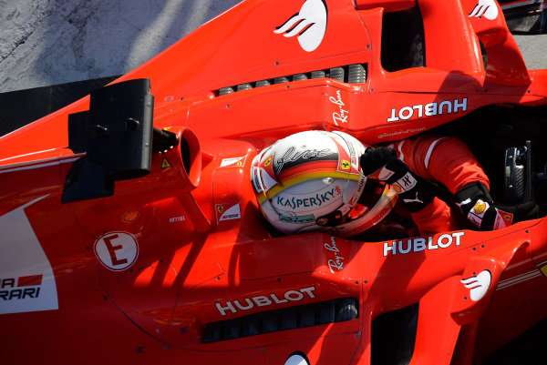 Race winner Sebastian Vettel (GER) Ferrari SF70-H celebrates in parc ferme at Formula One World Championship, Rd1, Australian Grand Prix, Race, Albert Park, Melbourne, Australia, Sunday 26 March 2017.