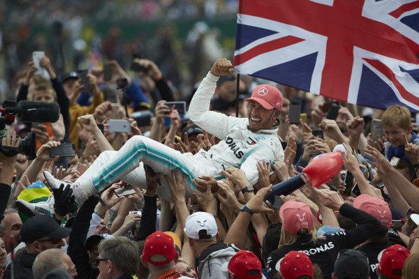 Lewis Hamilton, Mercedes AMG F1, 1st position, celebrates with his fans