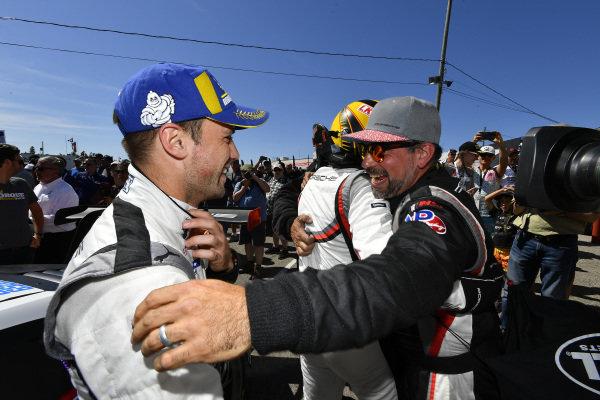#912 Porsche GT Team Porsche 911 RSR, GTLM: Earl Bamber, Laurens Vanthoor celebrate the win in victory lane