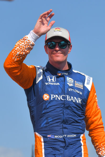 Scott Dixon, Chip Ganassi Racing Honda, second place, victory lane