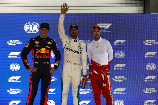 Top three Qualifiers Max Verstappen, Red Bull Racing, pole man Lewis Hamilton, Mercedes AMG F1, and Sebastian Vettel, Ferrari