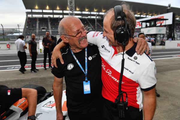 Ron Pallatt, McLaren mechanic and Josef Leberer, Alfa Romeo Sauber F1 Team Trainer and at Legends F1 30th Anniversary Lap Demonstration