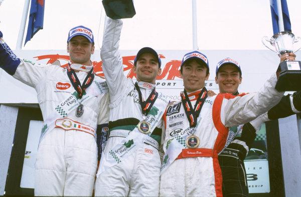 British Formula ThreeDonington, England. 1st - 2nd July 2000. Rd 7&8.Race One podium. 1st Antonio Pizzonia, 2nd Gianmaria Bruni, 3rd Takuma Sato.World - Peter Spinney/ LAT Photographic