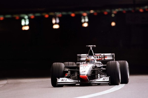 1998 Monaco Grand Prix.Monte Carlo, monaco.21-24 May 1998.Mika Hakkinen (McLaren MP4/13 Mercedes-Benz) emerges from the tunnel during practice.World Copyright - Elford/LAT Photographic