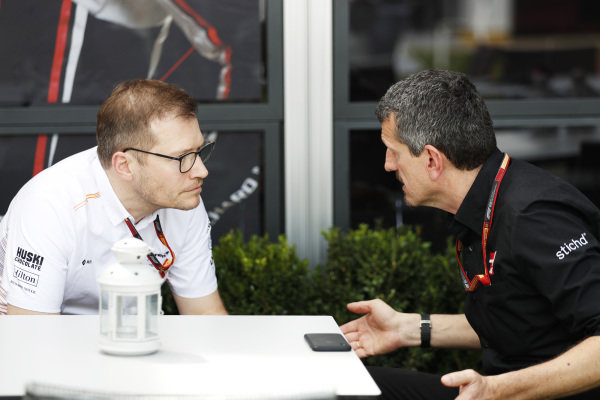 Andreas Seidl, Team Principal, McLaren, and Guenther Steiner, Team Principal, Haas F1