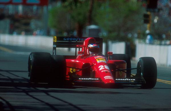 1991 United States Grand Prix.Phoenix, Arizona, U.S A.8-10 March 1991.Jean Alesi (Ferrari 642) 12th position.Ref-91 USA 30.World Copyright - LAT Photographic