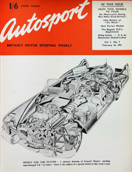 """Cover of Autosport magazine, 16th February 1951. Main Picture: A cutaway drawing of the General Motors' supercharged V8 """"Le Sabre""""."""
