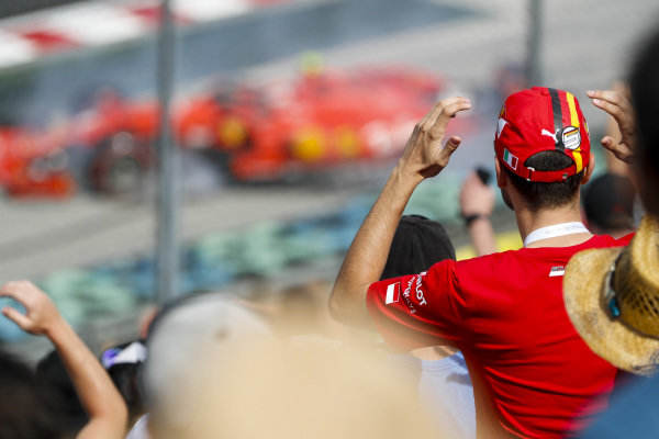 Ferrari fan watching the crash of Charles Leclerc, Ferrari SF90